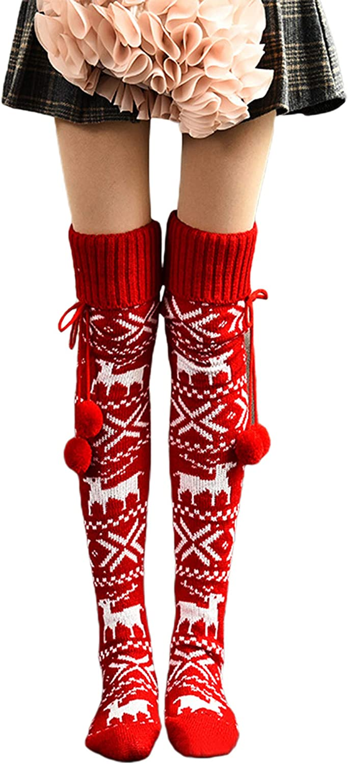 N C Christmas Stockings Women Autumn Winter Cable Knitted Stockings Ladies Casual Cotton Warm Thigh High Over Knee Female Long Socks