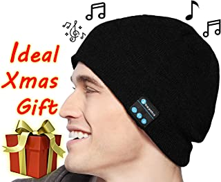 Bargeebai Unisex Beanie Hat Bluetooth Wirless Upgraded Loud Stereo Speaker Unique Awesome Cute Fall Winter Birthday Tech Gifts Under 20 Teen Boy Man Woman Girl Knit Skull Cap (Black)