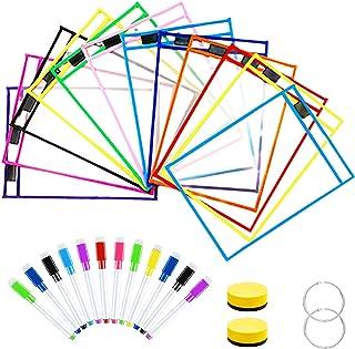 Pochettes Effaçables à Sec,Pochettes de couleurs effaçables à sec,pochettes réutilisables effaçables à sec pour Fourniture...