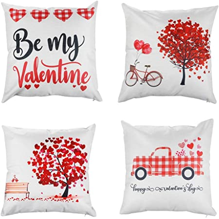 Amazon Com 4 Pack Red Love Tree Throw Pillow Case Buffalo Plaids Red Car With Hearts Happy Valentine S Day Decorative Cushion Covers Cotton Linen 18x18 Inch Romantic Farmhouse Home Decor By My Valentine