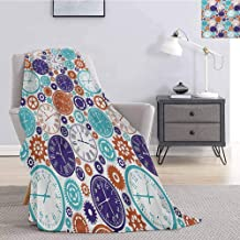 Luoiaax Clock Plush Throw Blanket for Couch Vintage Clock Mechanism Roman Numbers Hour and Minute Hand Pattern Print Soft Throw Blankets for Adults W59 x L70.5 Inch Blue and Dark Orange
