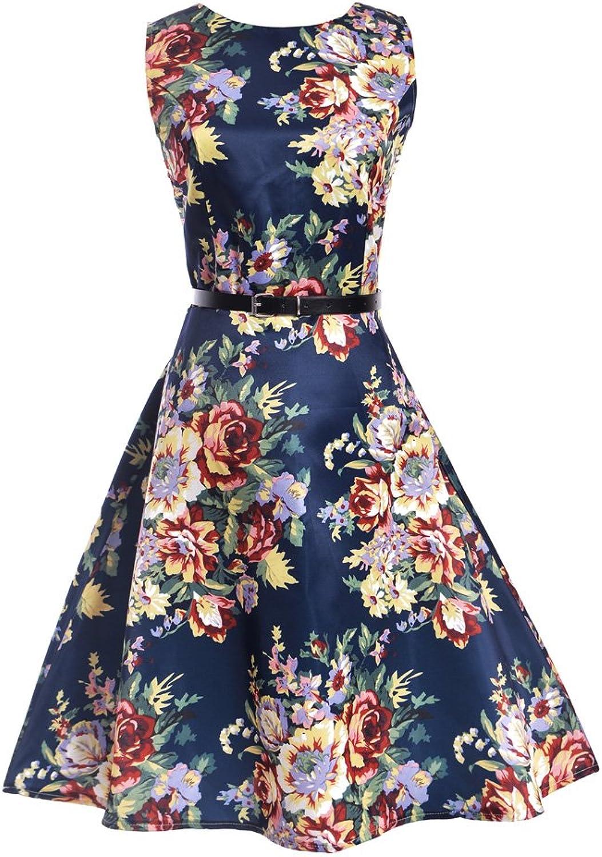 UUJOLIE Boat Neck Sleeveless Vintage Tea Dress with Belt 1950s Retro Rockabilly Prom Dresses
