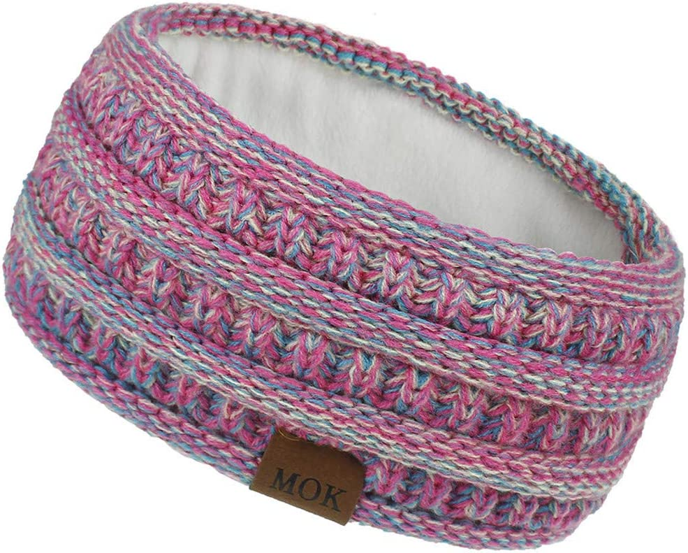 Kexle Womens Knitted Headband Cold Weather Headbands Girls Sport Hair Hairband Soft Stretch Winter Warm Knit Fuzzy Fleece Lined Ear Warmer Head Wraps Turban