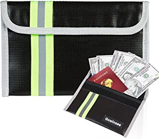 """8""""x 5"""" Fireproof Bag, Small Fireproof Money Bag, Fireproof Wallet Bag, Cash Protecting Bag - Non-Itchy Silicone Coated Fir..."""