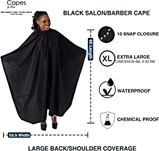 """Capes By Sheena Black Hairdresser Barber Cape W/ 10 Snap Closure, X Large 66"""" L x 53.5"""" Stylist Supplies for Hair-Cutting"""