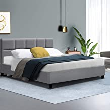 Queen Bed Frame Fabric Grey Tino