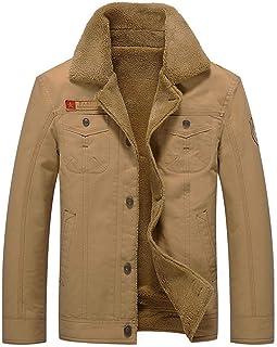 Fuwenni Men's Winter Jacket Sherpa Lined Fleece Jacket Fur Collar Warm Coat Military Cargo Trucker Jacket