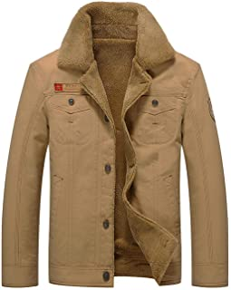 Men's Winter Jacket Sherpa Lined Fleece Jacket Fur Collar Warm Coat Military Cargo Trucker Jacket