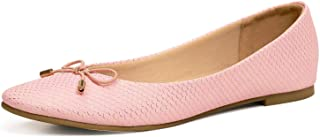 WFL جولة اصبع القدم النساء شقق الانزلاق على أحذية الباليه المسطحة لينة, (Serpentine Pink), 37 EU