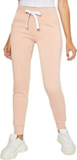 esstive Women's Ultra Soft Fleece Basic Midweight Casual Solid Jogger Pants, Salmon, X-Small