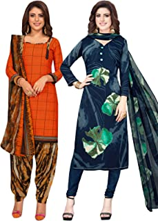 S Salwar Studio Women's Pack of 2 Synthetic Printed Unstitched Dress Material Combo-MONSOON-2859-2891