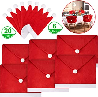 26 Pieces Christmas Santa Hat Covers, Include 6 Pieces Santa Hat Chair Covers Chair Back Covers and 20 Pieces Santa Hats Silverware Holders Wine Bottle Cover for Xmas Festive Party Table Decoration