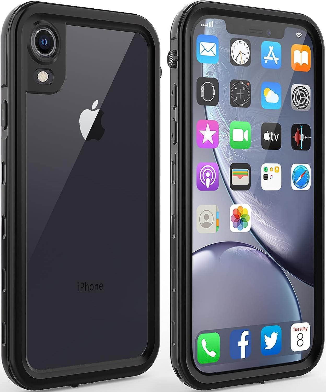 iPhone XR Waterproof case Life Snowproof Dirtproof Shockproof Cover … (Black/Clear)