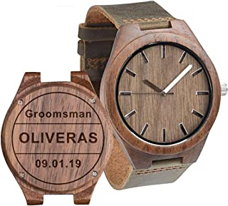 Engraved Wooden Watch Anniversary Gifts for Boyfriend Groomsmen Gift Ideas for Men Unique Gifts for Husband