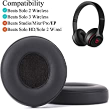 Beats Solo 2 & 3 Earpad Replacement, Krone Kalpasmos Ear Cushions for Beats Solo 2 & 3 Wireless On-Ear Headphones, Beats Solo Headset by Dr. Dre Super Soft Protein Leather Memory Foam Ear Pads