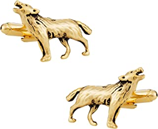 Howling Lone Wolf Gold Cufflinks with Presentation Box
