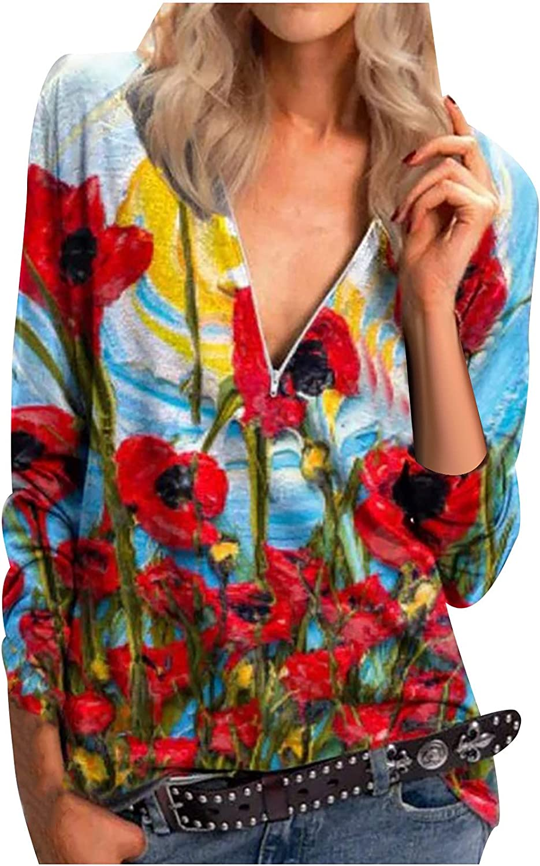 Women's Floral Printed Shirt Tops Fashion V-Neck Long Sleeve Zipper Irregular Loose Casual Blouse Tunics Tee Shirts
