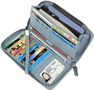 Women's RFID Blocking Real Leather Zip Around Wallet Clutch Large Travel Purse Wristlet