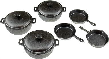 Heavy Duty Pre Seasoned Mini Cast Iron Dutch Oven Set of 3, Oven Safe Cooker, Black