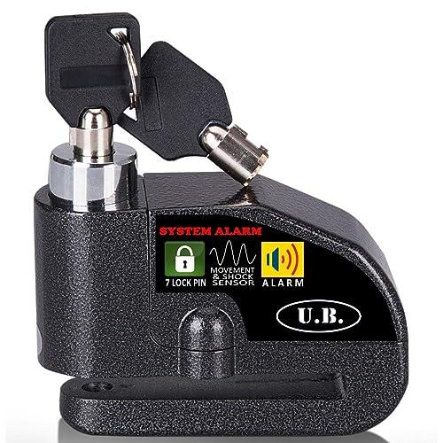 UB Cadenas à disque avec alarme 7mm 110 dB Dispositif antivol pour moto/vélo