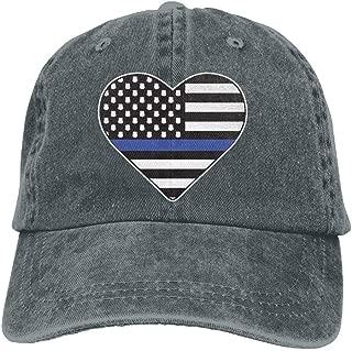 Men&Women Adjustable Yarn-Dyed Denim Baseball Caps Police Thin Blue Line Hear Dad Hat
