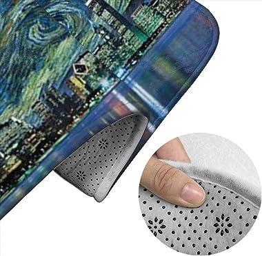Dpcm - Juego de alfombrillas de baño (3 unidades, antideslizante), diseño de estrella de la ciudad, color negro