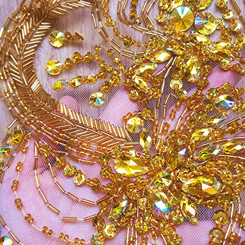 Unique Pure Handmade Beaded Bling Gold AB Crystals Trim Patches Golden Sew on Rhinestones Appliques for Costumes Wedding Dress DIY Decoration 14x14inch