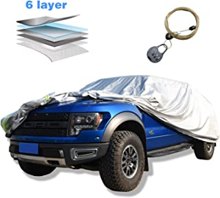 AOYMEI Full Car Cover Waterproof All Weather, Truck Cover Sunproof Rainproof Windproof Scratch Resistant Reflective Strips Cotton Inside (Truck, Length Up to 250