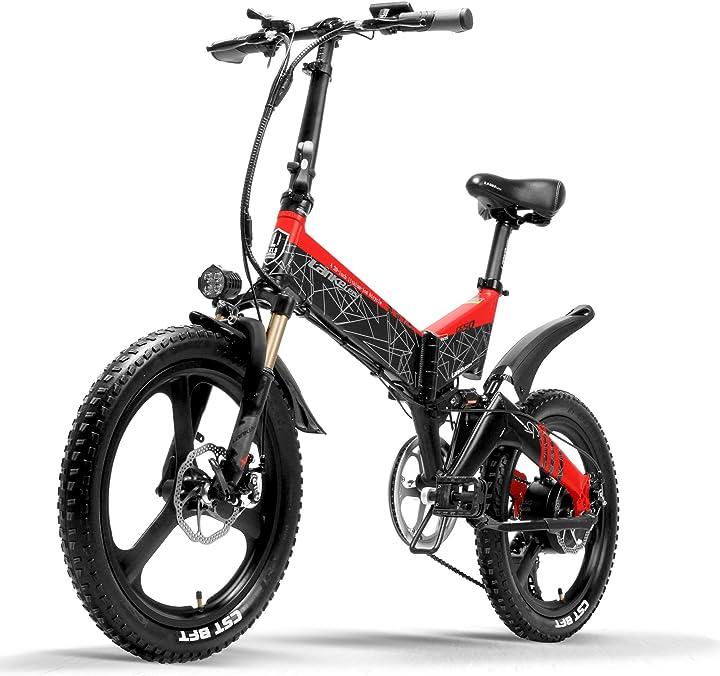 Bicicletta elettrica 20 pollici mountain bike pieghevole e-bike 400w 48v batteria al litio 7 velocità B081RMFWSC