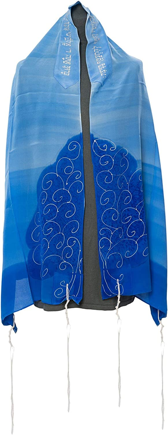 bluee Tree of Life Hand painted silk Tallit for women,Bat Mitzvah tallit 70  X 20  by Galilee Silks from Israel