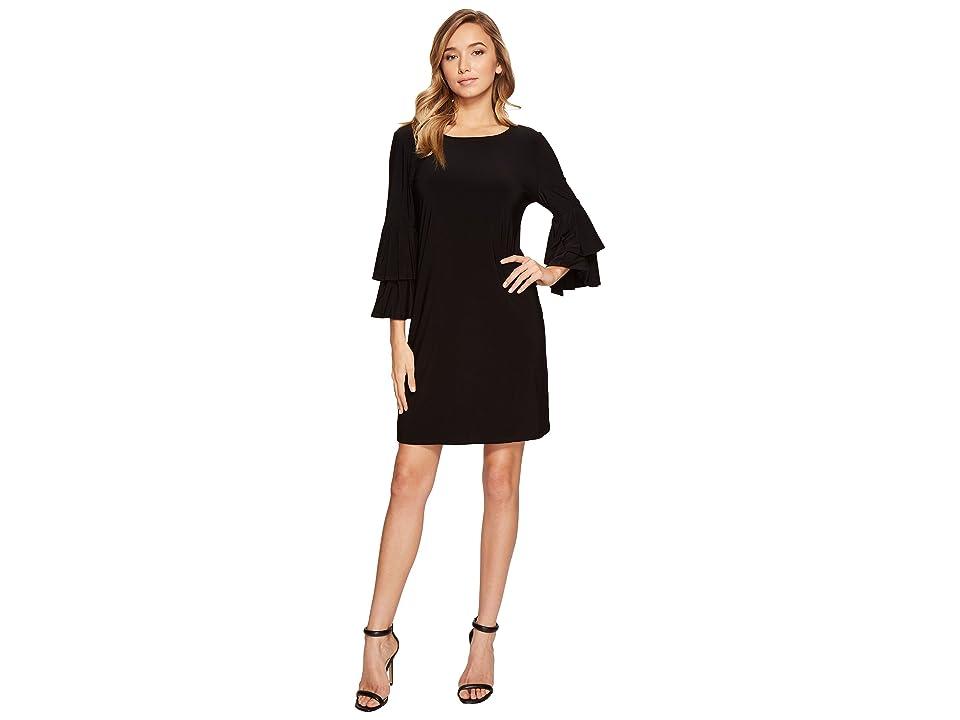 Laundry by Shelli Segal Shift Dress w/ Knife Pleat Sleeve (Black) Women
