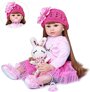 ROSHUAN Lifelike Reborn Baby Doll Realistic Baby Doll Lovely Reborn Toddler Baby Reborn Dolls Cloth Body with Rabbit Toy A...