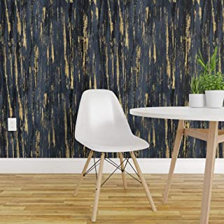 Spoonflower Peel and Stick Removable Wallpaper, Indigo Paint Strokes Mark Making Textured Arty Texture Midnight Stripe Painterly Rich Nature Print, Self-Adhesive Wallpaper 24in x 108in Roll