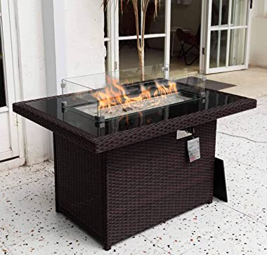 """Propane fire Pit 43"""" fire Pit Table 55,000 BTU Auto-Ignition fire Pit Table with 8mm Tempered Glass Top Gas firepits for"""