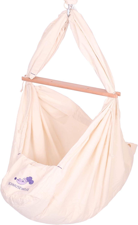 SCHMUSEWOLKE Federwiege Babyhngematte BIO-Baumwolle mit Schafwollmatratze ab der Geburt bis 3 Jahren und bis max. 18 kg (inkl. 3 Deckenbefestigungen)