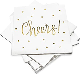 Pack of 50 Cheers Cocktail Party Napkins 3-Ply - Disposable Paper Napkins Gold Foil Designs - Perfect for Birthdays, Bridal, New Years, Anniversary and Special Occasions - by Simple Glee