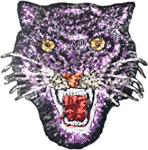 24x24 cm/10x10 inches Appliques Patches Iron On Patterns Print Embroidery Sewing Craft Supplies Machines Designs Logo Cloth Hat Bag DIY Decor (Roaring tiger) Violet
