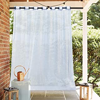NICETOWN Outdoor Sheer Panel for Patio - Rustproof Extra Wide Grommet Top Indoor Outdoor Voile Drape with Rope Tieback for Deck, Screen Porch (1 Piece, 100 x 96 inches in White)
