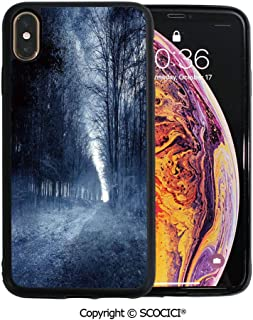 SCOCICI Unique Slim Designs Drop-Protection Smart Cell Phone Case Haunted Forest Image Bleak Gloomy Misty Nature Landscape Decorative Compatible with iPhone Xs Max