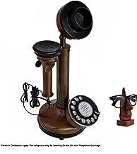 Candelabro vintage antiguo 1980 esfera giratoria clásica marrón acabado antiguo teléfono fijo con soporte para gafas de sol o soporte de madera para especificaciones
