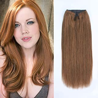 ABH AmazingBeauty Hair Miracle Wire Hair Extensions - Invisible Miracle Wire Remy Human Hair, 30 Light Auburn, 20 Inch