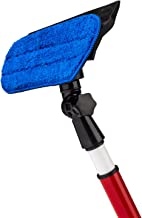 2 in 1 Telescoping Window Washing Equipment- Microfiber Cloth & Rubber Squeegee Tool- Pivoting Cleaning Head- 5ft Long Telescopic Pole- Best Cleaner for Windows/Mirror/Glass Door/Car/RV Windshield