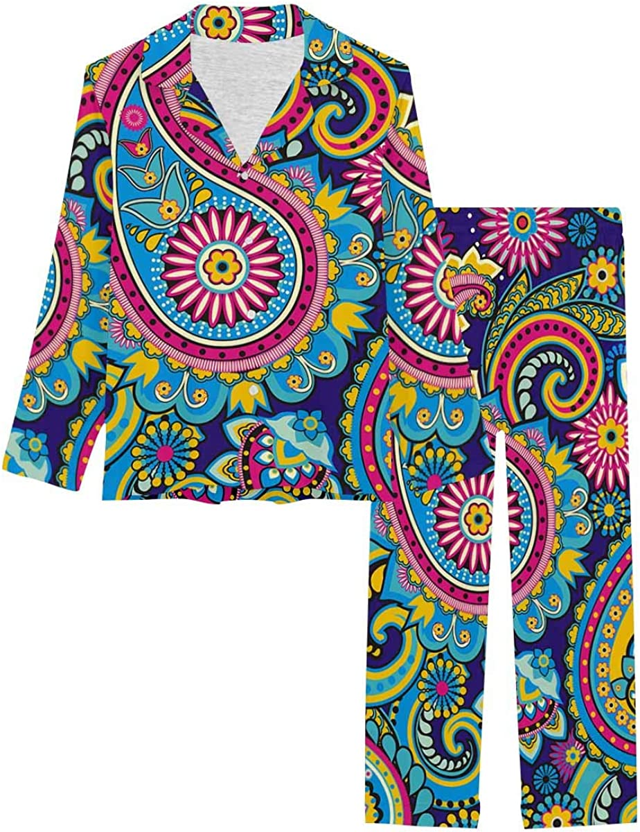 InterestPrint Women's Pajamas Set Button Down Sleepwear with Long Pants Pattern Based on Traditional Asian Elements Paisley