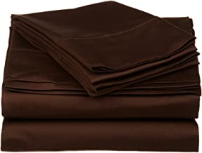 530 Thread Count, 100% Premium Combed Cotton, Single Ply, King 4-Piece Sheet Set, Solid, Chocolate