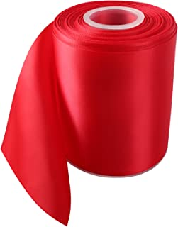 LaRibbons Double Face Satin Ribbon Roll, 4 inch Wide, Red, 25 Yards