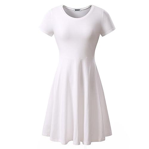f9a2c54442d HUHOT Women Short Sleeve Round Neck Summer Casual Flared Midi Dress