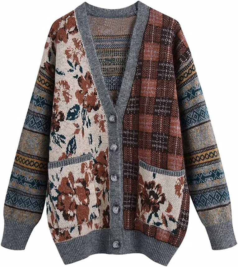 LYYQH Women New Spring Beauty products Fashion Japan's largest assortment L Knitted V-Neck Patchwork Flower