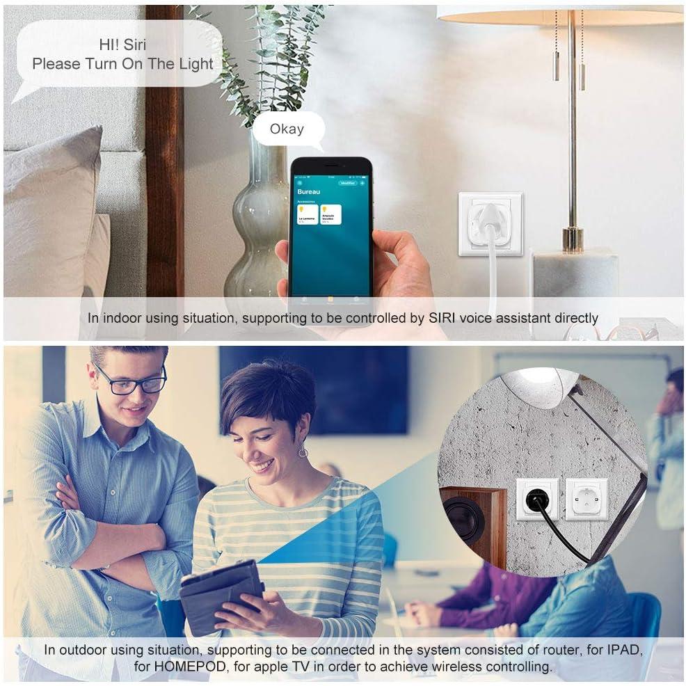 Enchufe Inteligente Port/átil con Control Inal/ámbrico e Interruptor de Encendido 2 pack FreeLeben WIFI Enchufe Inteligente 16A Smart Socket Funciona con Apple HomeKit Smart WiFi Socket
