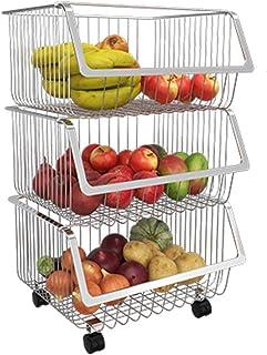 DHHZRKJ Paniers de Fruits empilables, paniers de Rangement et de tri en métal avec poignées, paniers de Rangement pour sal...
