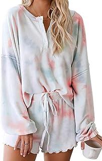 Women Pajamas Tie Dye Print Long Sleeve Shirt Elastic...